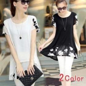 ブラック&ホワイト2色対応半袖Tシャツ 無地 可愛い レディ シフォン カジュアル 花柄