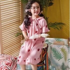 キッズ 女の子 イチゴ柄 綿100 部屋着 パジャマ フリル ルームウェア 子供服 寝巻き 姫系 ルームワンピース 半袖 かわいい