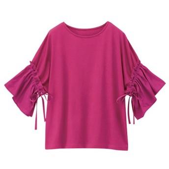 ラナン 袖異素材切替デザインTシャツ レディース ピンク L 【Ranan】
