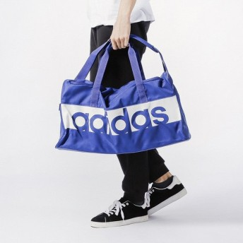 アディダス リニアロゴチームバッグM (DM7649) 44L ダッフルバッグ : ブルー adidas