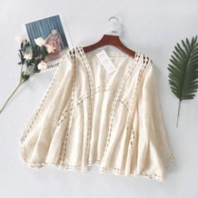 レディースボレロ ショールUVカット アイボリー色 ゆったり 透け刺繍レース 薄手 ドルマンスリーブ