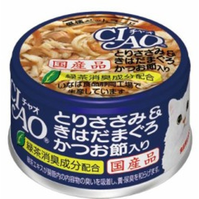 【SALE】チャオ ホワイティ とりささみ&きはだまぐろ かつお節入り 85g×24缶