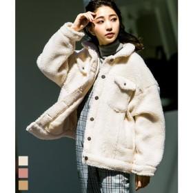 ボア Gジャン ジャケット ボアジャケット レディース 胸ポケット コート アウター ボアブルゾン ビッグシルエット 2018 AW 秋冬 韓国 ファッション