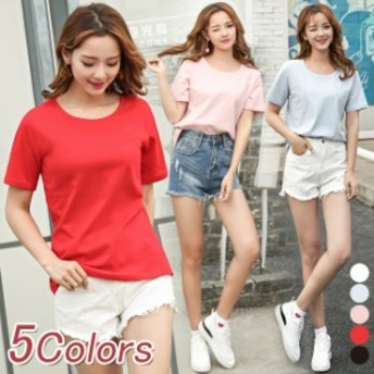 激安 レディース Tシャツ M~2XL大きいサイズ 春夏 コットン素 半袖 定番 クルーネック