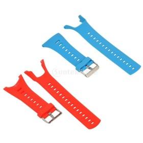 Perfk Ambit 3 2 1適用 シリコン製 リストバンド 時計ストラップ 快適 2本入り 全3種色 - 青と赤