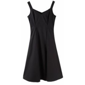 女性着 黒系キャミソールワンピース パーティーリゾートビーチ 涼しい Aラインロングドレス