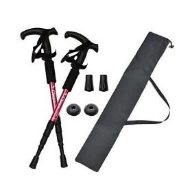 BEATON JAPAN トレッキングポール ウォーキングポール T型 登山 ストック ステッキ杖 軽量 2本セット ケース付き (赤)