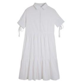 レディース膝丈ワンピース 綿涼しい 無地 カジュアル風ドレス ホワイト色 ゆったり