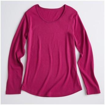 UVカット綿100%フライス素材クルーネック長袖Tシャツ (Tシャツ・カットソー)(レディース)T-shirts, テレワーク, 在宅, リモート