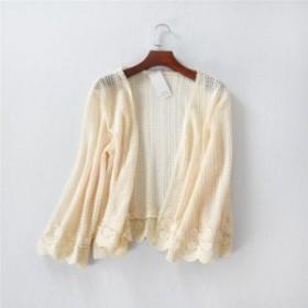 レディースボレロ ショールUVカット アイボリー色 編みポンチョ 夏透け刺繍