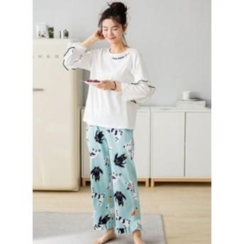 新作パジャマ 春秋 ルームウェア 内側が肌に優しい綿100% 女性 部屋着 長袖 おしゃれ レディース 可愛い 上下セット 柔らかくて軽い着心