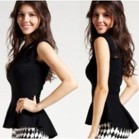 シャツ 夏物 ノースリーブ 大きいサイズ 白 黒 レディース 女性 シンプル