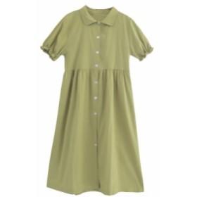 レディースロングフレアワンピース コットン 緑 可愛いドレス 体型カバー パフスリーブ