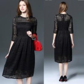 ミモレ丈ドレス モデル身長170cm程パーティドレス花柄レース七分袖ロングワンピース黒赤