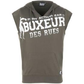 《期間限定 セール開催中》BOXEUR DES RUES メンズ スウェットシャツ ミリタリーグリーン M コットン 100% HOODED SLEEVELESS BIG PRINT SWEAT
