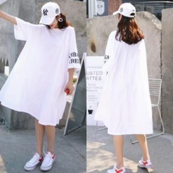 大きいサイズ対応 白ロングTシャツ 英字 レディース 七分袖 袖口ロゴプリント ワイドゆったりワンピース 送料無料