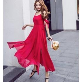 スリット ビーチドレス スリム リボン レディース セクシー サマードレス ワンピース ロング丈 #1194