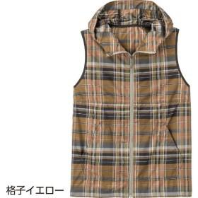 ケアファッション:ポケッタブルベスト 格子 イエロー L 89520-12