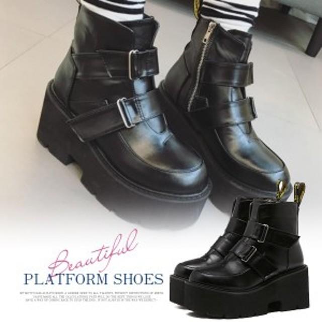 厚底ショートブーツ ブーツ ハイヒール 「黒 ブラック」コスプレ 靴 厚底 スニーカー レディース マジックテープ 学生服 大きいサイズ