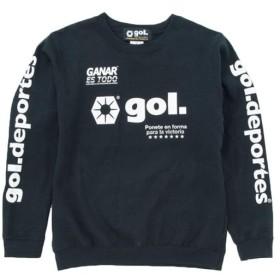ゴル(gol) メンズ スウェットシャツ LOGOS ブラック G893-704 サッカーウェア スウェット スポーツウェア トレーニングウェア トップス 練習着