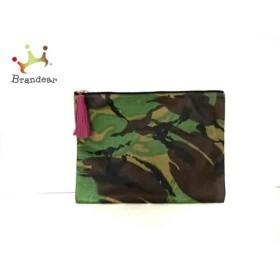 ステラハリウッド クラッチバッグ ダークブラウン×グリーン×カーキ 迷彩柄 PVC(塩化ビニール)         スペシャル特価 20190419