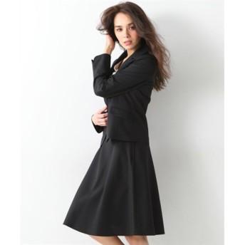 スカートスーツ パイピングテーラードジャケット+フレアスカート レディース