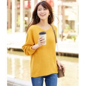 【新色追加】バイヤス柄あぜ編Vネックセーター (ニット・セーター)(レディース),Knitting