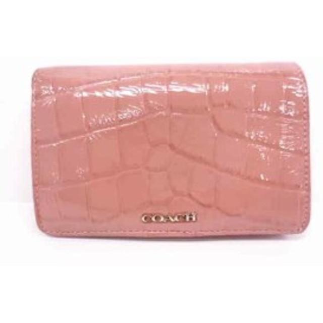 e6c28516b386 コーチ COACH 2つ折り財布 レディース - ピンク 型押し加工 エナメル(レザー)【
