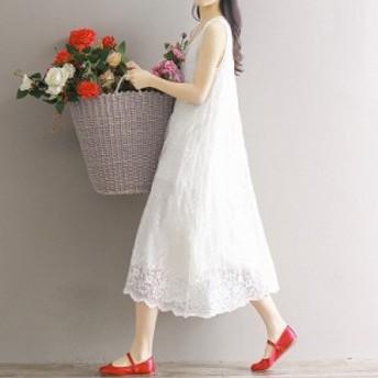 白ワンピース 夏ワンピ レディース ルームウェア サマードレス ノースリーブ レース 刺繍 ホワイト 春夏 送料無料