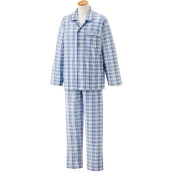 ケアファッション:ワンタッチテープ+腰開きパジャマ(紳士) ブルー M 38802-01