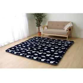 なめらかタッチ ラグマット/絨毯 〔ネイビー 約185cm×185cm〕 洗える シロクマ柄 ボリュームタイプ 『プルミエ』