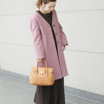 SLOBE IENA Vネックノーカラーコート◆ ピンク 40