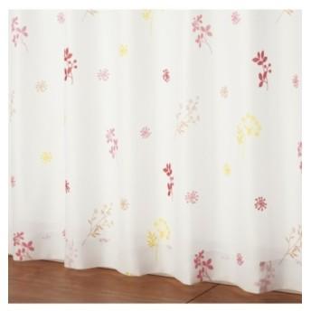 【送料無料!】フラワー柄遮熱。夕方まで見えにくいレースカーテン レースカーテン・ボイルカーテン