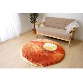 もちもちタッチ クッションラグ/座布団 〔直径約120cm〕 円形 洗える フランネル 『ホットケーキ』 〔リビング 寝室〕