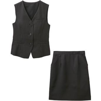【事務服。ベストスーツ】2点セット(ベスト+スカート)(温湿度調整裏地付)(選べる2レングス) women's suits