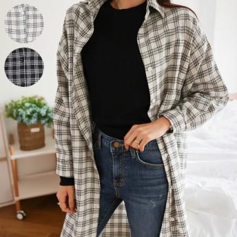 シャツ - PREMIUM K ベーシックチェックロングシャツ/ドロップショルダー/ゆったり/長袖/重ね着/レイヤード/ひざ丈/体型カバー/アウター/トップス/羽織/カジュアルからオフィスまで/OL/トップス/A/W/秋冬春