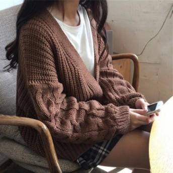 秋冬 合わせやすい ざっくりケーブル編み袖 カーディガン