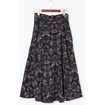 ひざ丈スカート - Te chichi ヴィンテージフラワー柄ロングスカート