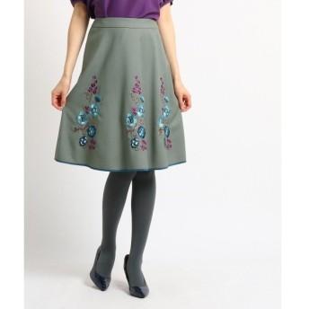SunaUna / スーナウーナ 【洗える】パイピングフラワー刺しゅうスカート
