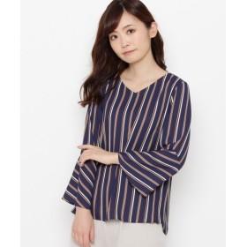 smart pink / スマート ピンク 【洗える】ベルスリーブストライプシャツ