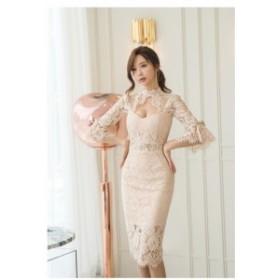 総レースドレス 結婚式 半袖 パープル お呼ばれドレス ワンピース パーティードレス 二次会 結婚式ドレス 30代 20代 40代 50代