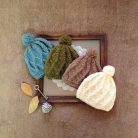 baby アラン編み ニット帽 brown