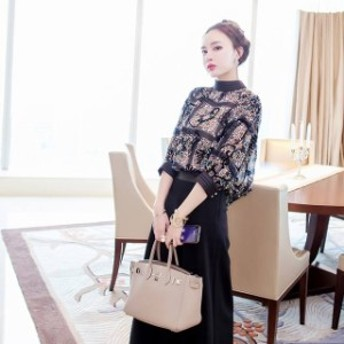 即納 韓国 ドレス セットアップ 韓国 パーティードレス ロング 七分袖 レトロ風 結婚式 二次会 お呼ばれ パーティドレス パンツ パンツド