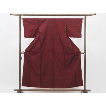 【中古】リサイクル紬 / 正絹黒地赤絣袷真綿紬着物未着用品 (古着 中古 紬 リサイクル品)