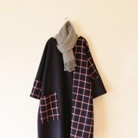 秋冬 バイカラー 上質ウールのチュニックワンピ 紺×チェック
