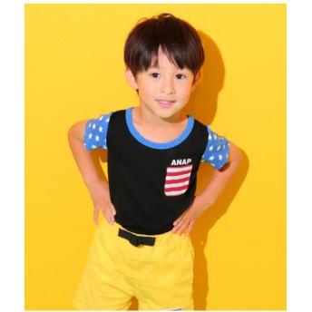 【50%OFF】 アナップキッズ フラッグパターンTシャツ レディース ブラック 120 【ANAP KIDS】 【セール開催中】