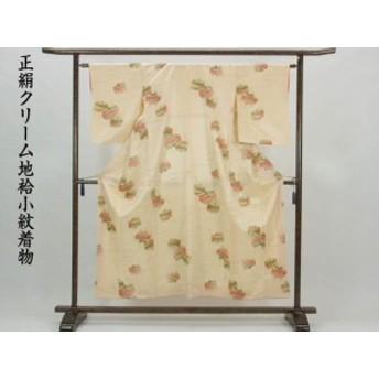 【中古】リサイクル小紋 / 正絹クリーム地袷小紋着物(古着 中古 小紋 リサイクル品)