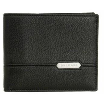 ブルガリ 二つ折り札入れ 財布 メンズ セルペンティ スカリエ マン レザー ブラック 284696