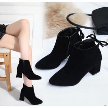 新作 6.5cm 太ヒール 最強 美脚ショートブーツ 秋冬 疲れにくい ストーム 太ヒール ブーツ スエード スムース 合成皮革 きれいめ 小さい 大きい