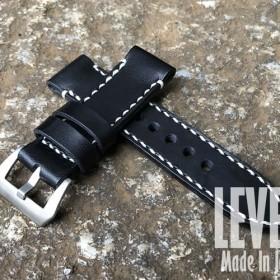 手縫い 幅22MM/24MM/26MM対応 ブラック×ホワイトステッチ オイルヌメ革 バックル付 腕時計ベルト